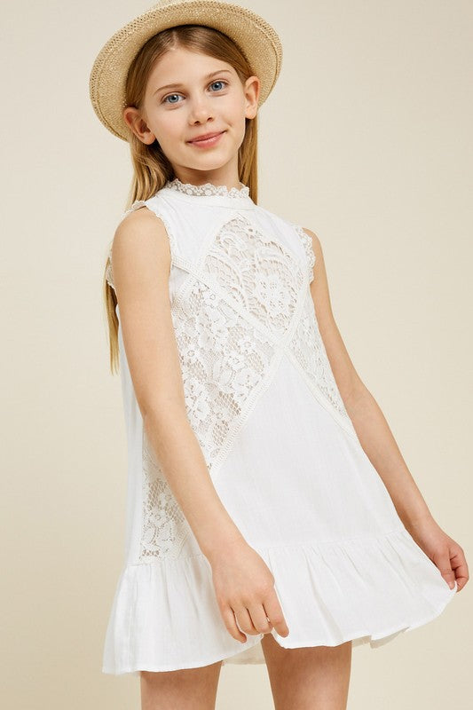 Lace Mock Neck Ruffle Dress | White