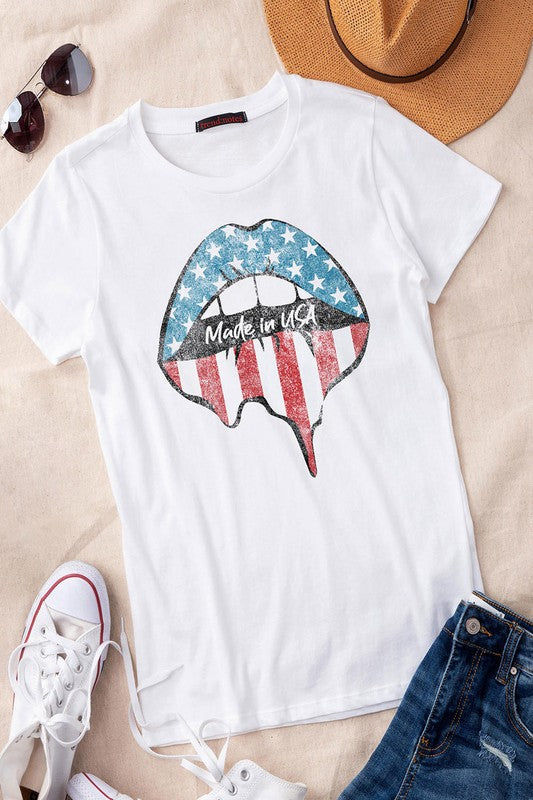Made In USA Lips T-shirt | White