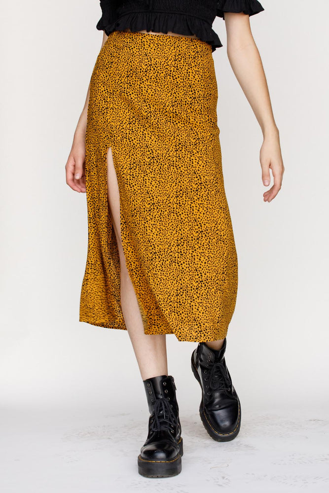 Cheetah Midi Skirt | Mustard