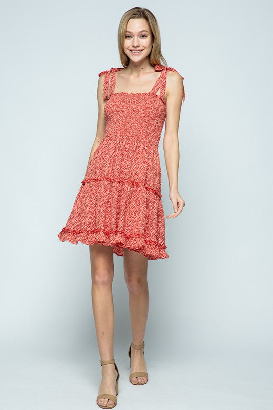 Mini Floral Smocked Ruffle Dress | Red