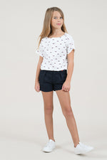 Girls Sunglasses Print SS Top | White