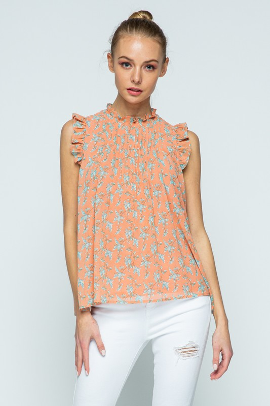 High Neck Ruffle Pleated Top | Coral Floral