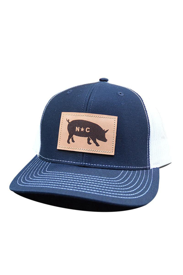 NC Pig Leather Patch Hat | Navy and White