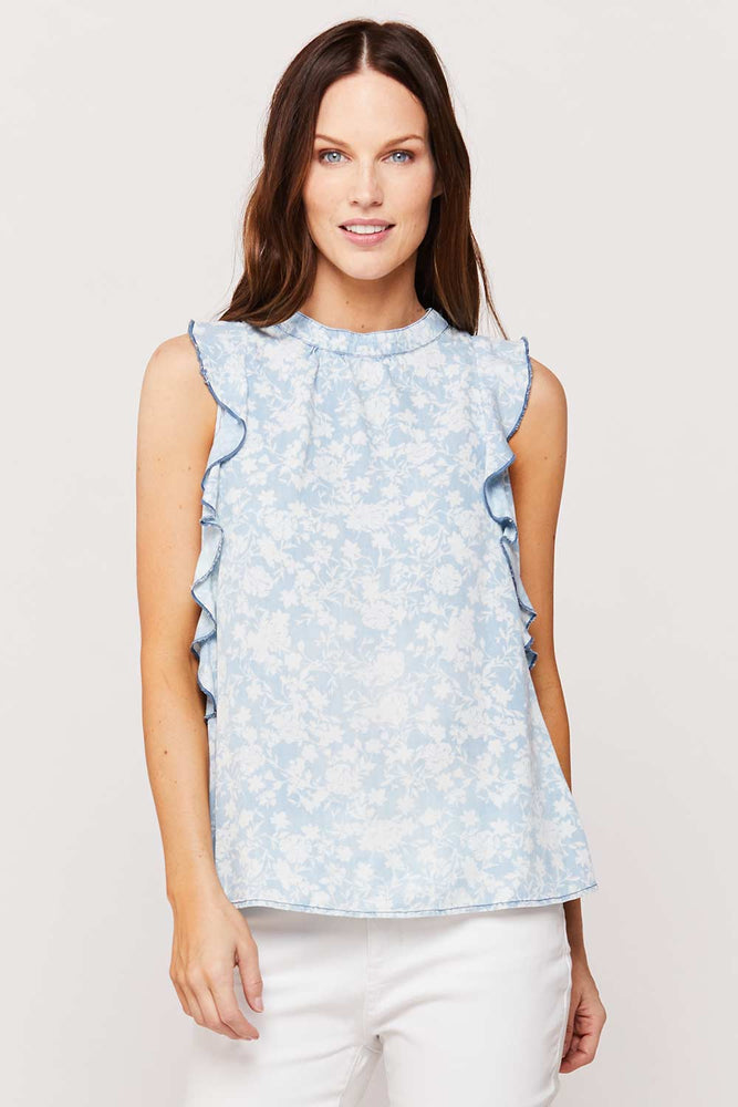 Nisreen Sleeveless Top | White Floral