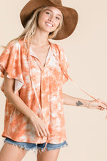 Tie Dye Knit Top | Orange