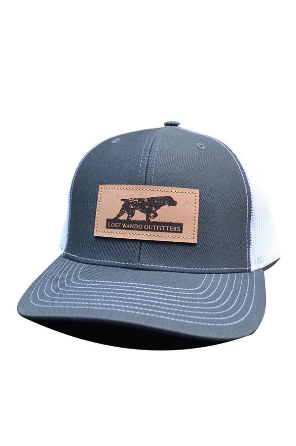NC Pointer Leather Patch Hat  | Charcoal and White