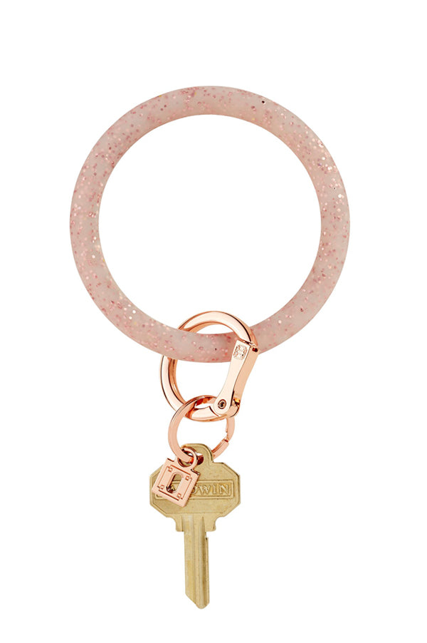 Silicone Key Ring | Rose Gold Confetti