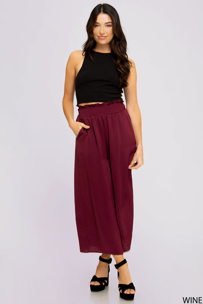 Smocked Waistband Wide Leg Pants | Wine