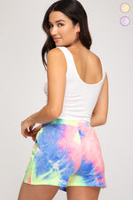 Tie Dye Terry Knit Shorts | Pink/Lime
