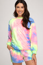 Long Sleeve Terry Tie Dye Top | Pink/Lime