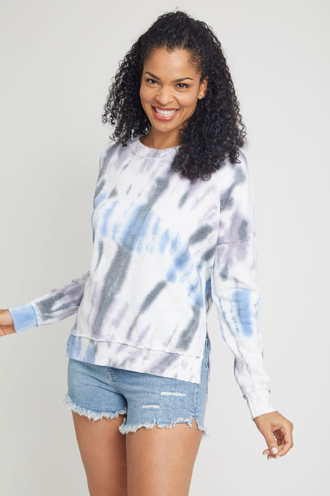 Diagonal Seaside Tie Dye Side Slit Top