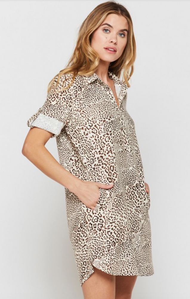 Macey Short Sleeve Shirt Dress | Cheetah