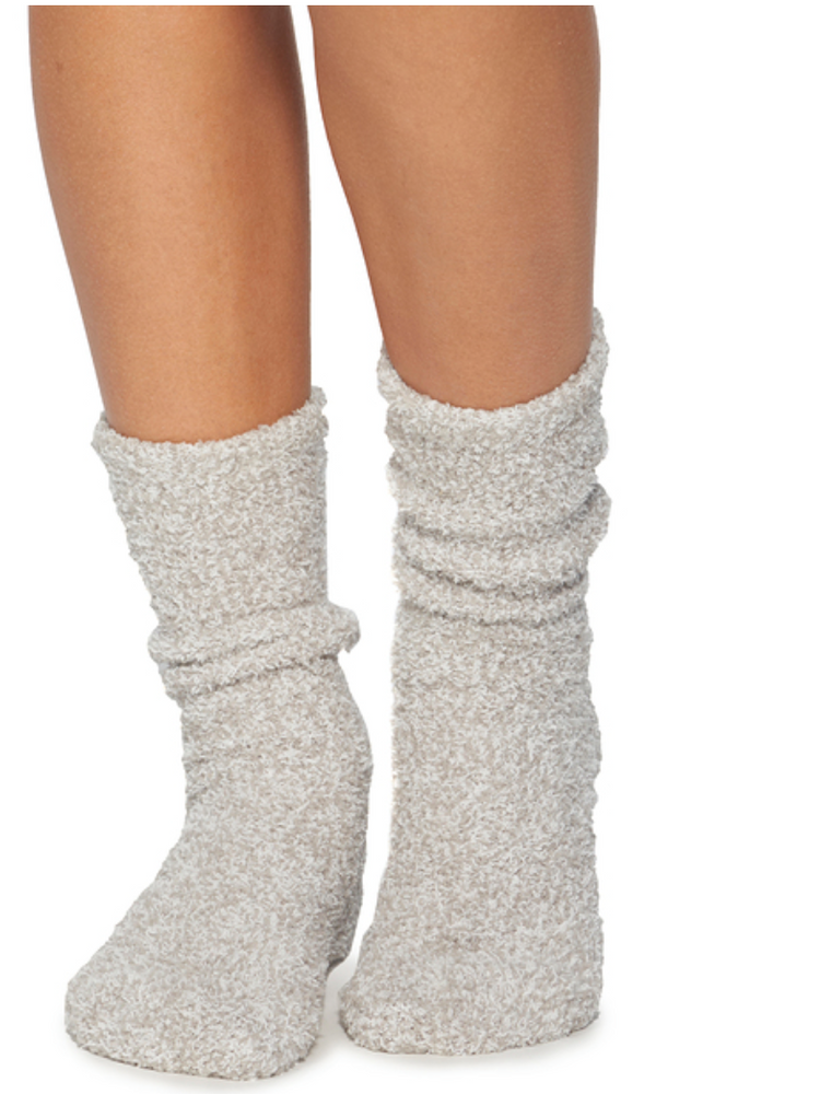 Cozy Chic Heathered Socks | Oyster and White
