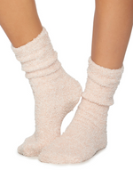 Cozy Chic Heathered Socks | Dusty Rose and White