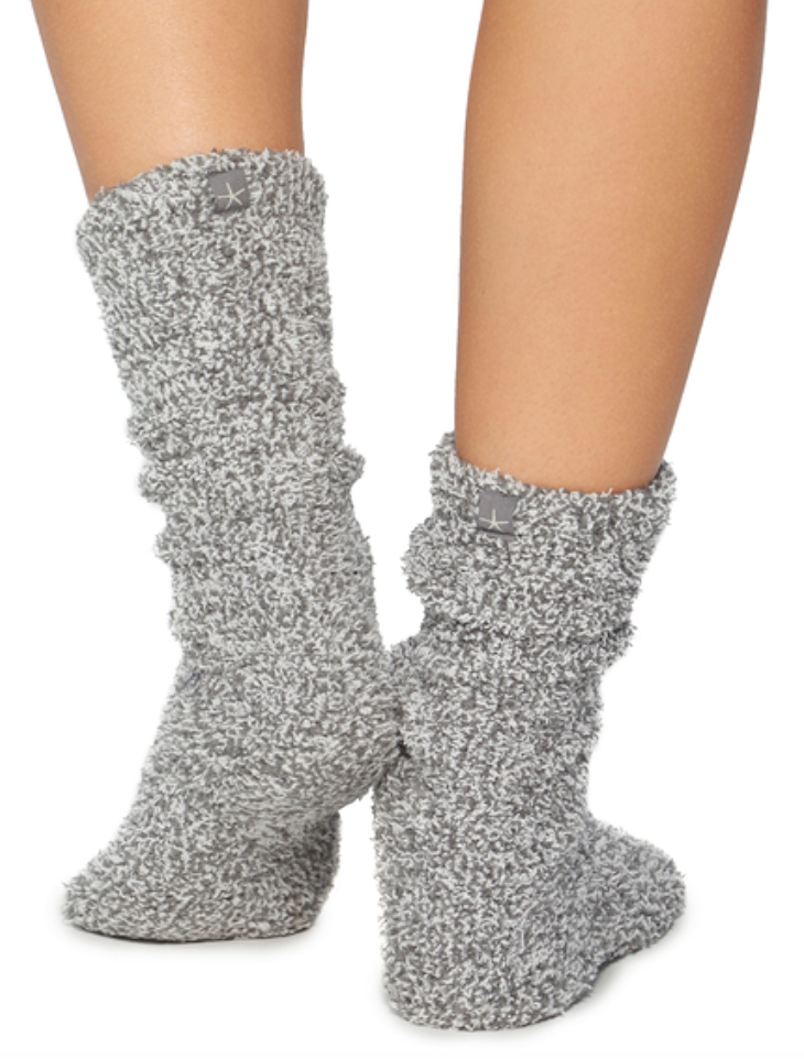 Cozy Chic Heathered Socks | Graphite and White