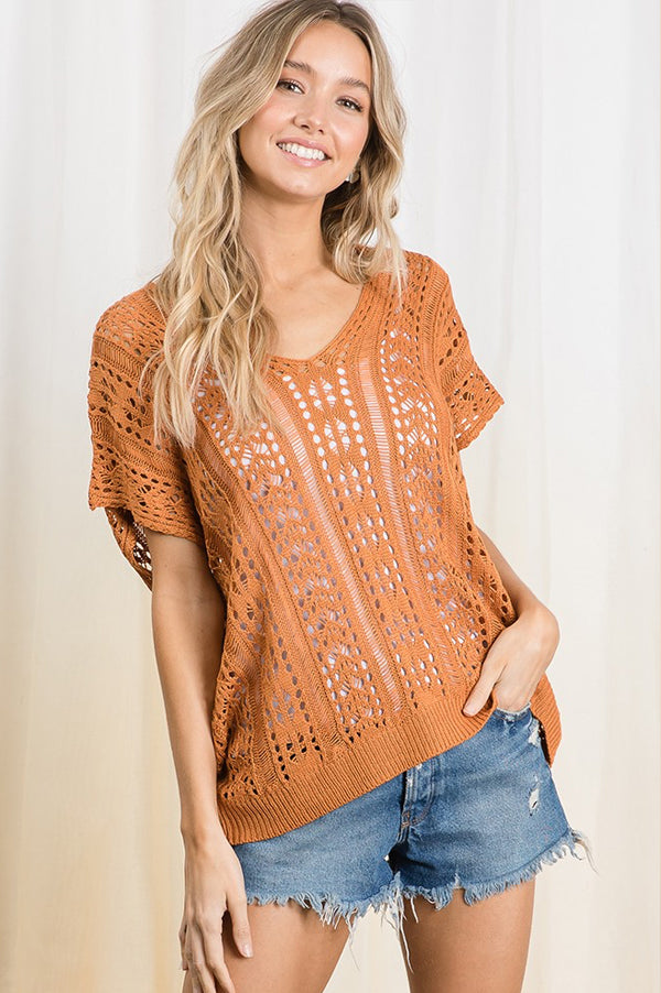 Sheer Sweater with Lace Back | Rust