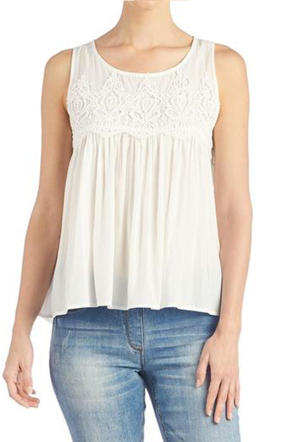 Tessa Crochet Tank | Off White