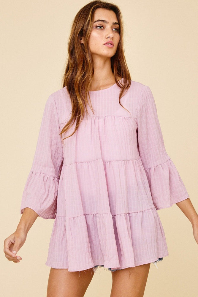 Solid Ruffle Tiered Tunic