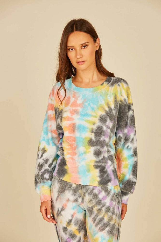Tie Dye Swirl Reverse Burnout Fleece Top