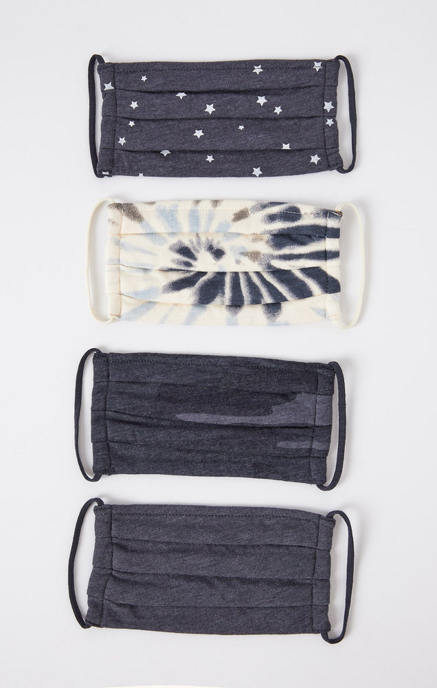Tie Dye Face Masks 4-Pack | Dusty Navy