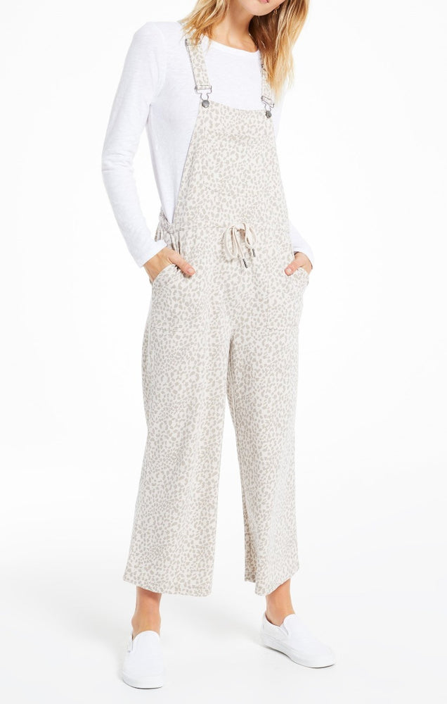 Tonal Leopard Cinched Waist Overalls