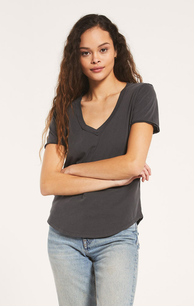 Organic Cotton V-neck Tee | Washed Grey