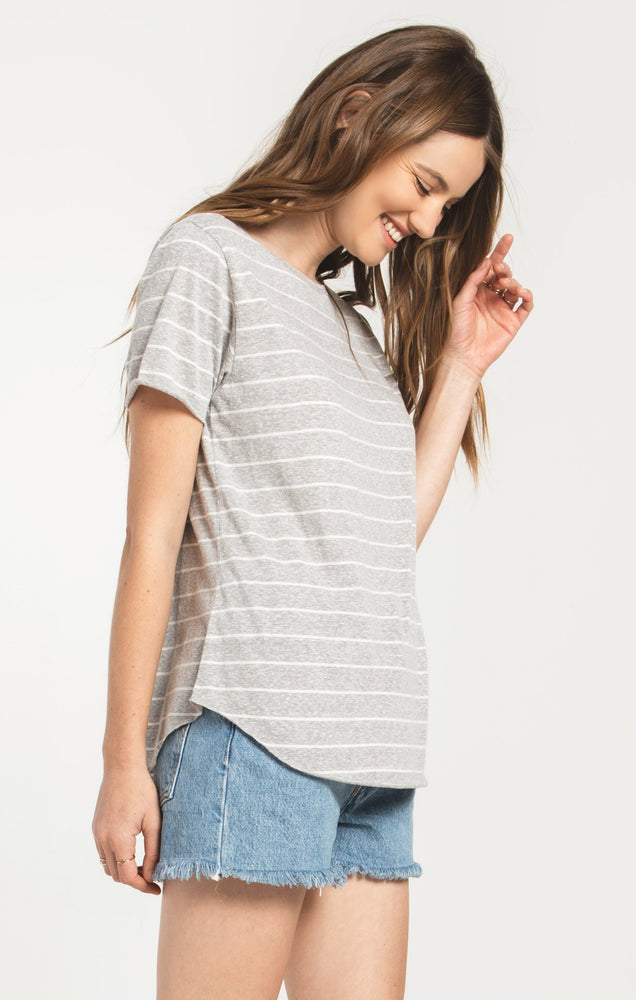 Ultimate Stripe Tee | Heather Grey