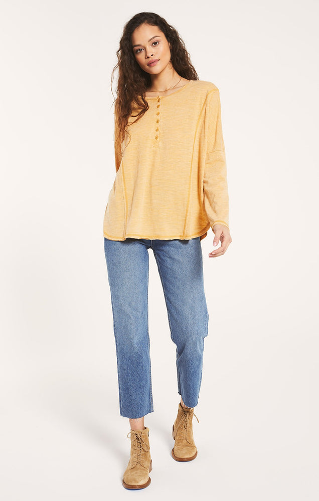 Rebel Slub Henley Top | Marigold