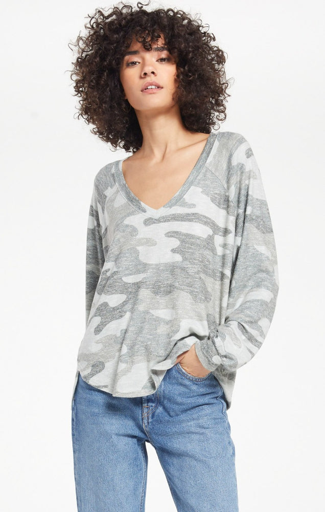 Plira Camo Sweater Slub Top