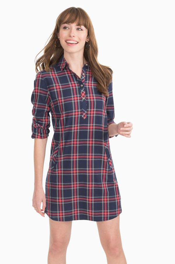 Alyssa Plaid Shirt Dress | Navy