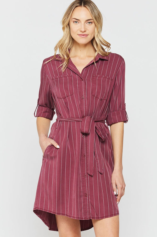 Anita Roll Tab Sleeve Shirt Dress | Striped Burgundy