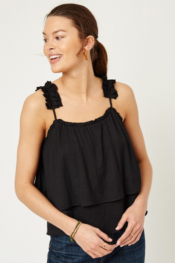 Tiered Pleated Strap Tank | Black
