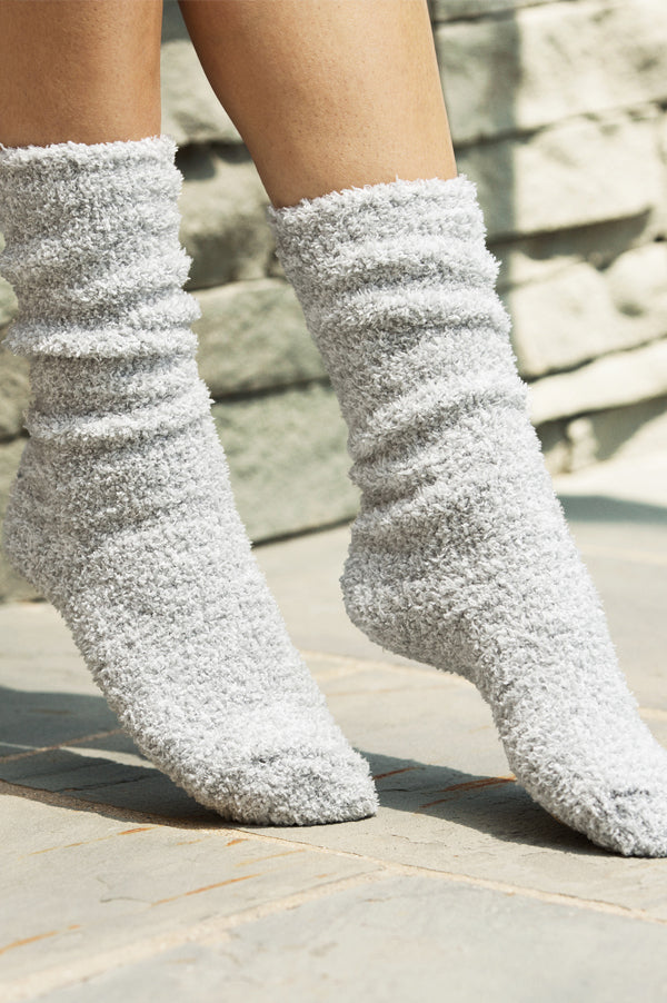Cozy Chic Heathered Socks | Blue Water White