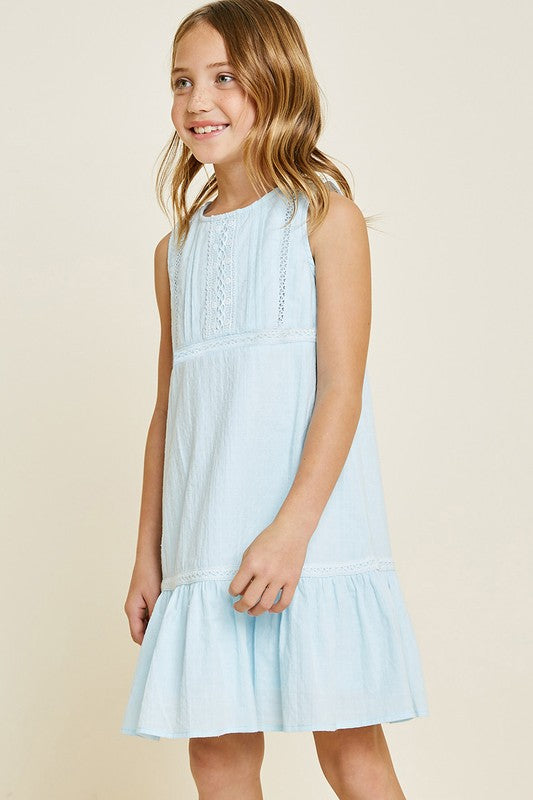 Lace Ruffle Tank Dress | Light Blue