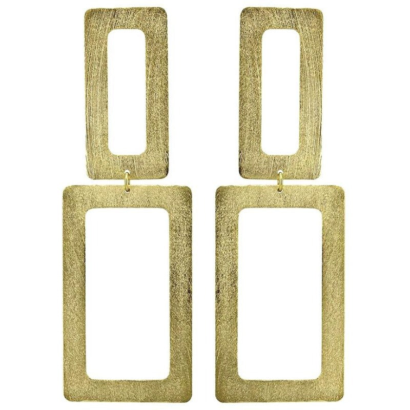 Double Rectangle Earrings | Gold