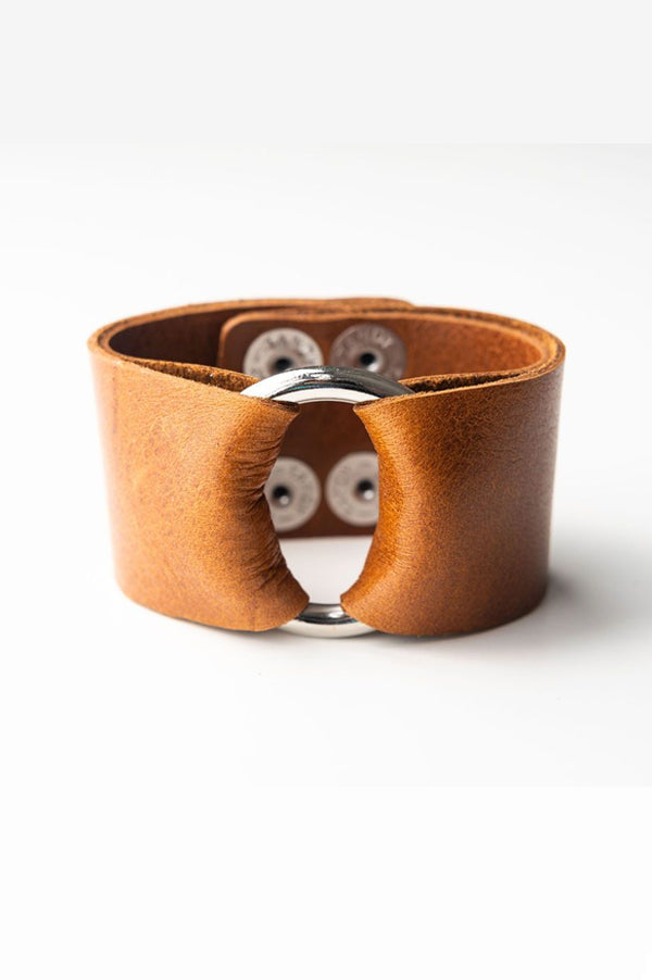 Wide Leather Cuff | Classic Brown