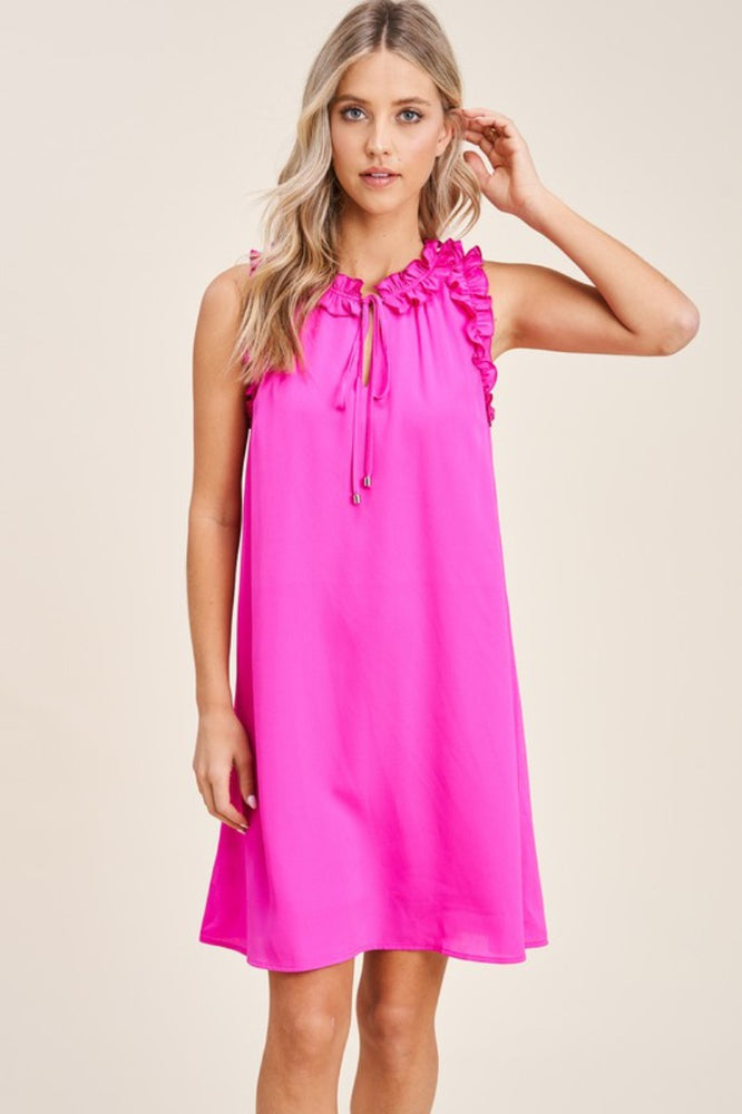 Sleeveless Ruffle Trimmed Dress