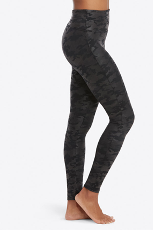 Faux Leather Leggings | Black Camo