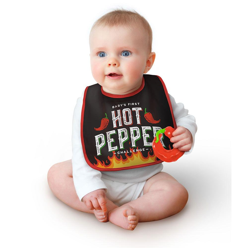Dressed to Spill Bib Set | Hot Pepper