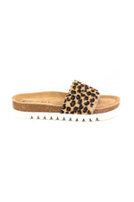 Sofi Pony Hair Slides | Leopard