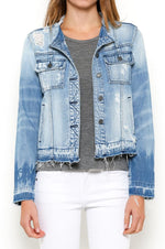 Collarless Distressed Jean Jacket