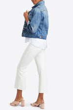 Cropped Flare Denim | White