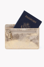 Euro Slide Leather Credit Card Wallet | Distressed Gold