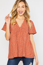 Dot Print Baby Doll Top | Ginger