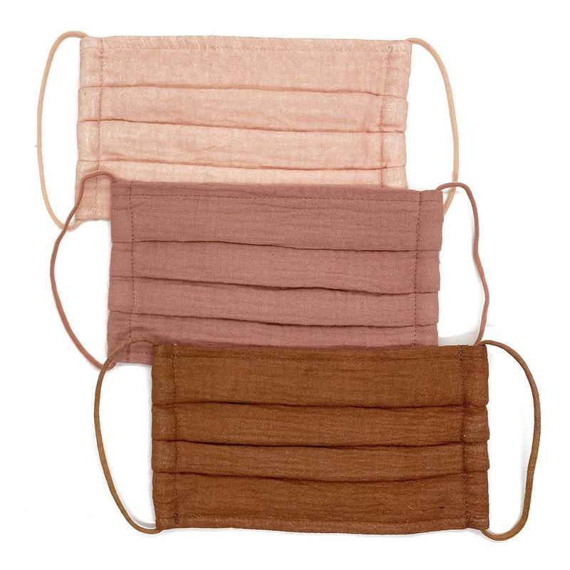 COTTON FACE MASK 3PC SET - DUSTY ROSE