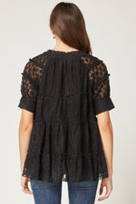 Floral Lace Tiered Smock Top