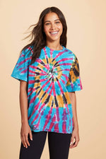 Mayian Oversized Fit Feather Tie Dye Tee