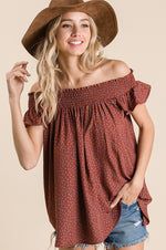 Off The Shoulder Floral Top | Burgundy