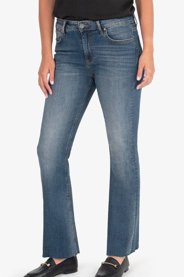 Stella Kick Flare Raw Hem Jeans | Dark Wash