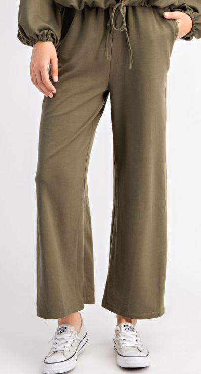 Wide Leg Sweatpants | Olive